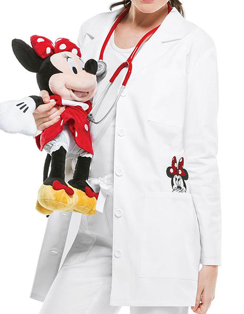 Tooniforms Disney Women's 32 Inches Minnie Mouse Embroidery Lab Coat