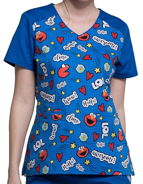 Tooniforms Women's Elmo Is Awesome V-Neck Top