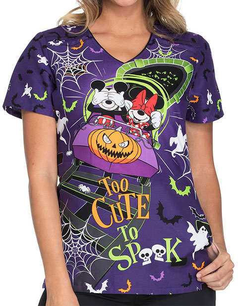 Cherokee Tooniforms Halloween Women's Too Cute To Spook Print V-Neck Top