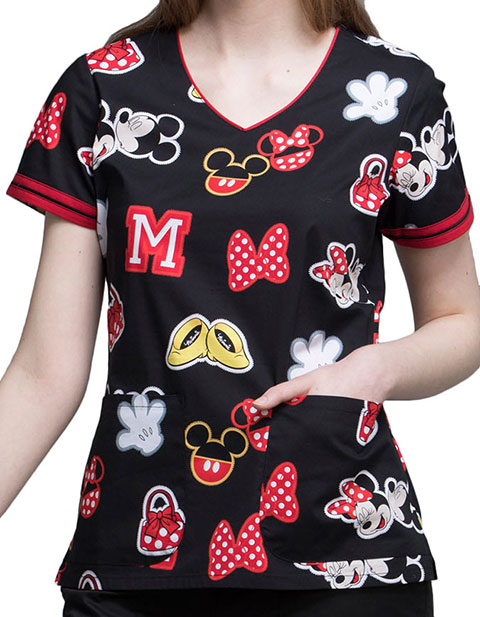Tooniforms Disney Women's Minnie Patches Printed V-neck Top