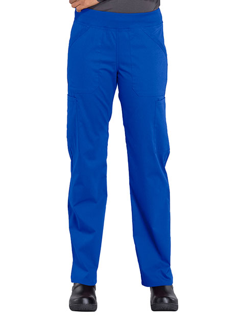 Cherokee Workwear Professionals Women's Elastic Waist Mid Rise Straight Leg Pull-on Cargo Pant