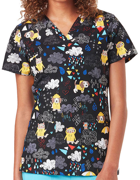 Code Happy Animal Instincts Women's Raining Cats And Dogs Certainty Print Top