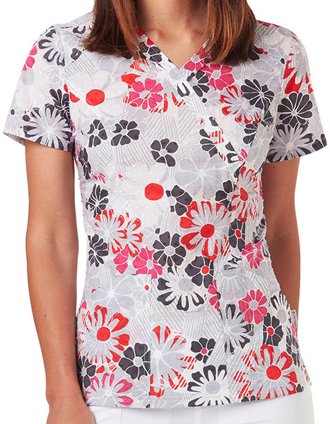 Code Happy Pop Star Women's Antimicrobial Floral Printed Top