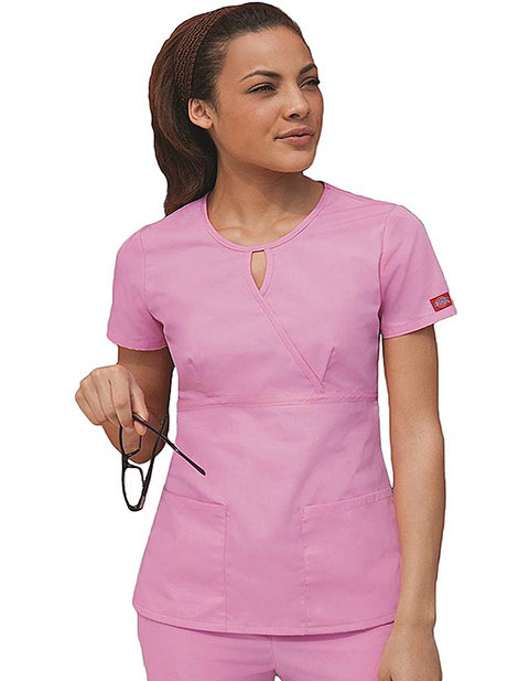 Dickies EDS Junior Fit Two Pocket Keyhole Scrub Top