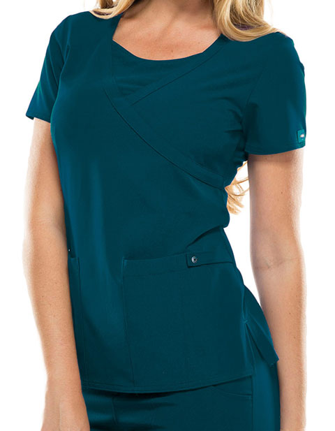 Dickies Xtreme Stretch Women Solid Mock Wrap Top