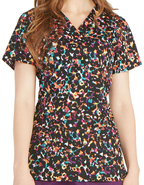 Dickies Rainbow Bright Women's Rainbow Texture Printed V-Neck Scrub Top