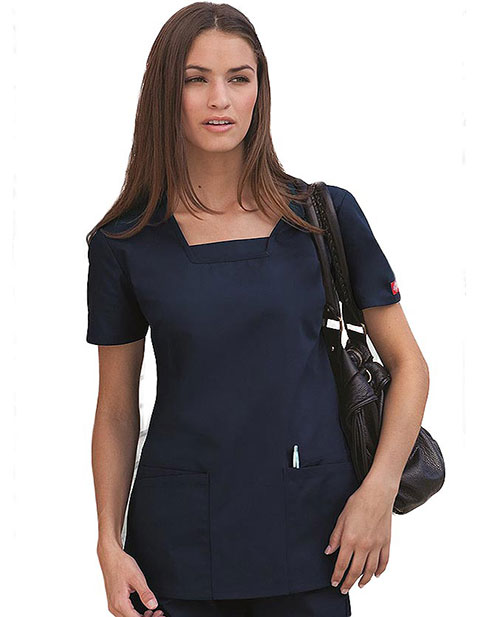 Dickies EDS Missy Fit Four Pocket Square Neck Scrub Top