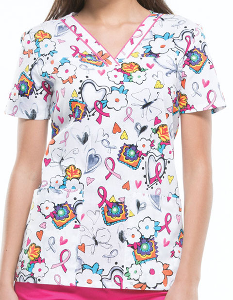 Dickies Women's Care Is In The Air Printed V-Neck Scrub Top