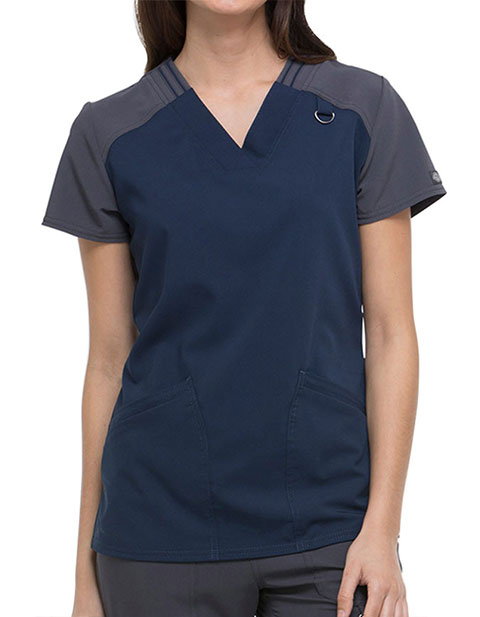 Dickies Xtreme Stretch Women's Contrast V-Neck Top