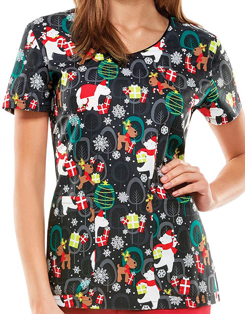 Dickies EDS Holiday/Winter Women's Beary Christmas To All Printed Top
