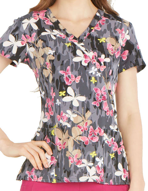Dickies See You In A Wild Women's Butterfly Print Mockwrap Top