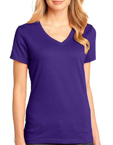 District Made  - Ladies Perfect Weight  V-Neck Tee. DM1170L