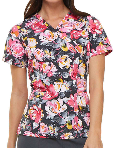 Elle Women's Rose to The Occasion Pewter Printed Mock Wrap Top