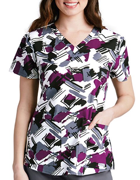 Grey's Anatomy Signature 2-Pocket Camelot Printed Scrub Top