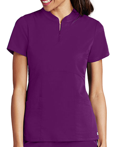 Grey's Anatomy Women's Zip Mandarin Collar Fashion Scrub Top