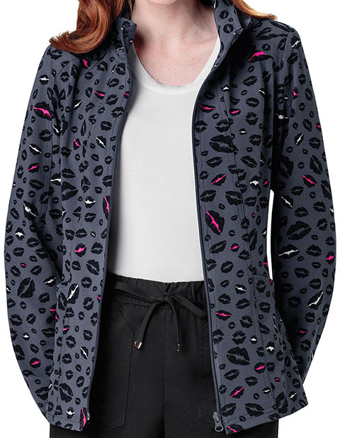 HeartSoul Women's Let's Talk About Love Printed Warm-Up Scrub Jacket