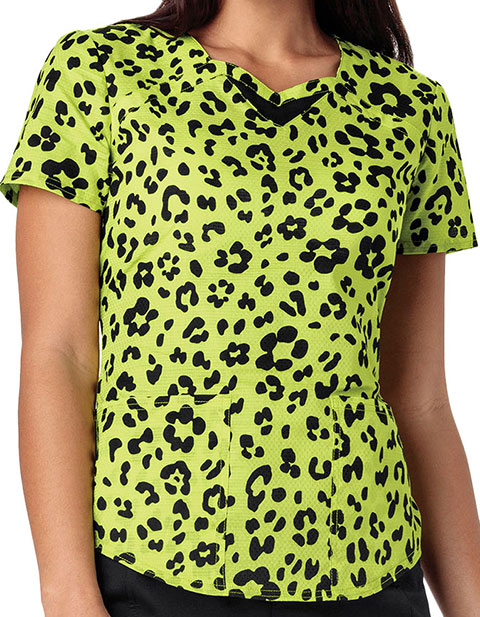 HeartSoul Women's Wild You Were Out Sunny Lime Printed Sweetheart Neck Scrub Top