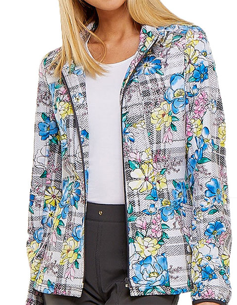 HeartSoul Womens Zip Front Plaid About Me Babe Printed Bomber Jacket