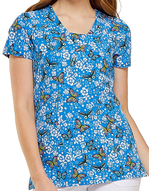HeartSoul Womens V-Neck Blooming Butterfly Print Scrub Top