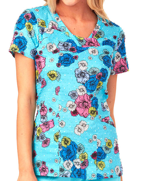 HeartSoul All About Blue Women's Floral Print V-Neck Top