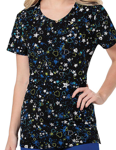 HeartSoul Wild About Blue Women's Love And Star Printed Mockwrap Top