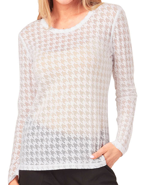 HeartSoul Underscrub Knit Tees Women's Long Sleeves Houndstooth Tees