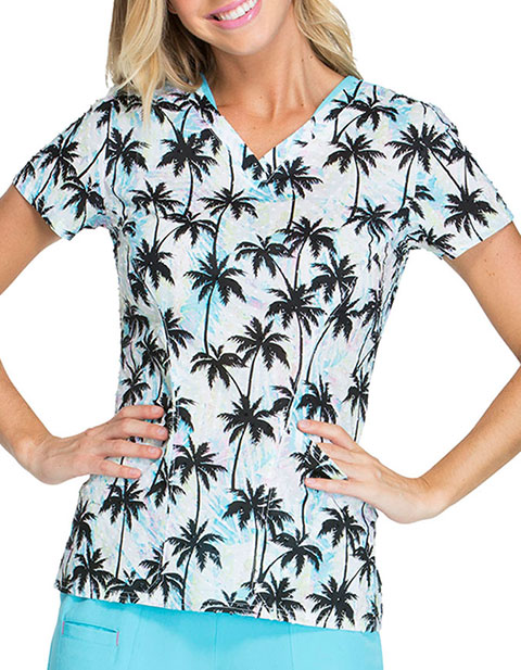 HeartSoul Deep Blue Chic Women's Ocean Air Salty Hair Printed Top