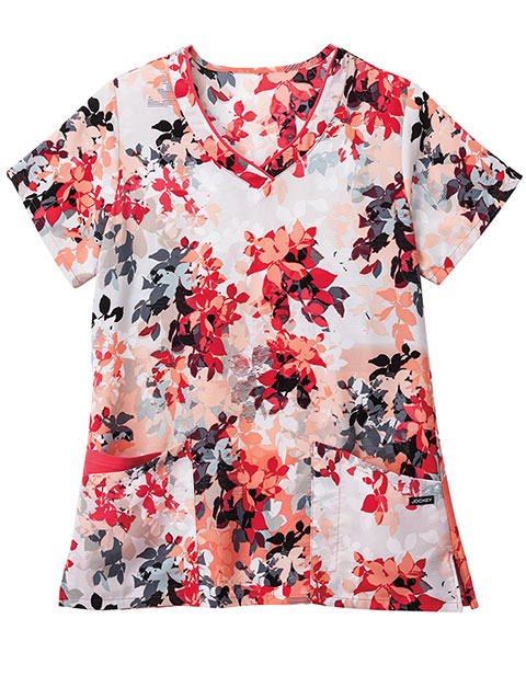 Jockey Scrubs Women's Ombre Leaves Hibiscus Print V-neck Top