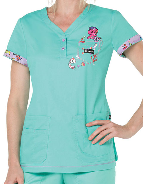 KOI Tokidoki Women's Mint Katrina Top