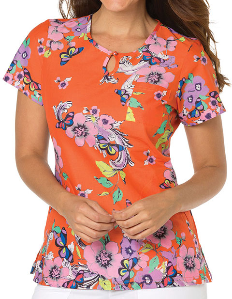 KOI Women's Scrolled Butterflies Printed Carly Top