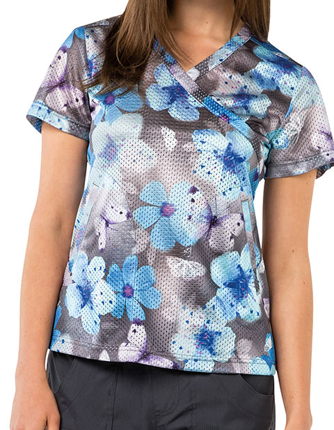 KOI Lite Women's Mockwrap Neck Printed Bliss Top