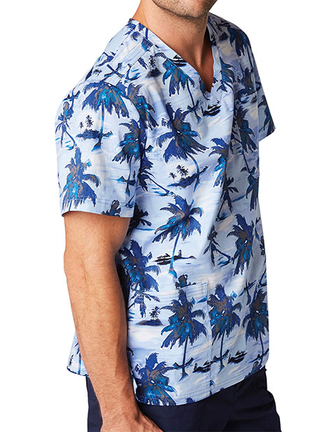 KOI Men's Tropical Palms Christopher Printed Top