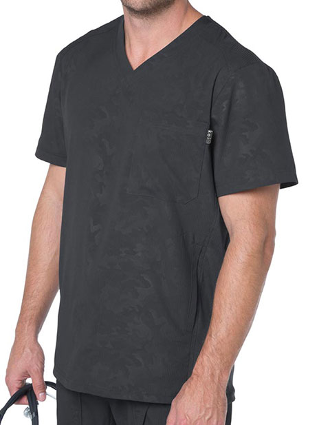 KOI Lite Men's V-neck Charcoal Printed Zen Top