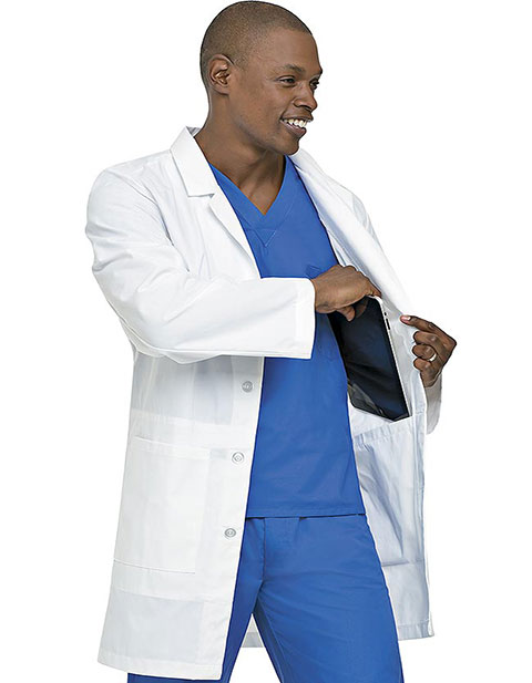 Landau Men Notebook Staff-Length White Lab Coat