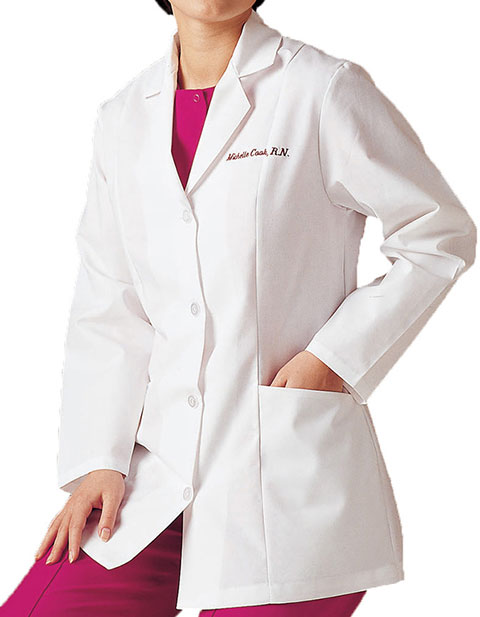 Landau Women 31.5 inch Two Pocket Short Medical Lab Coat