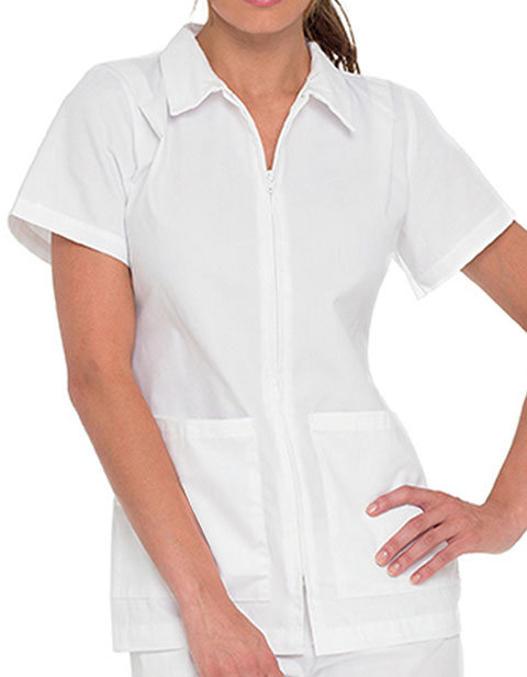Landau Women Two Pocket Zip Front Nurses Scrub Top