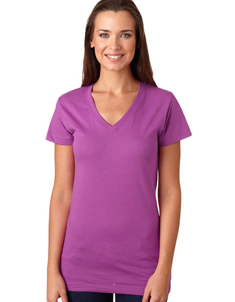 L3607 LA T Juniors' Fine Jersey V-Neck Longer Length T-Shirt