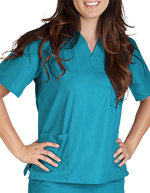 Natural Uniforms Unisex Solid V-Neck Petite Scrub Top