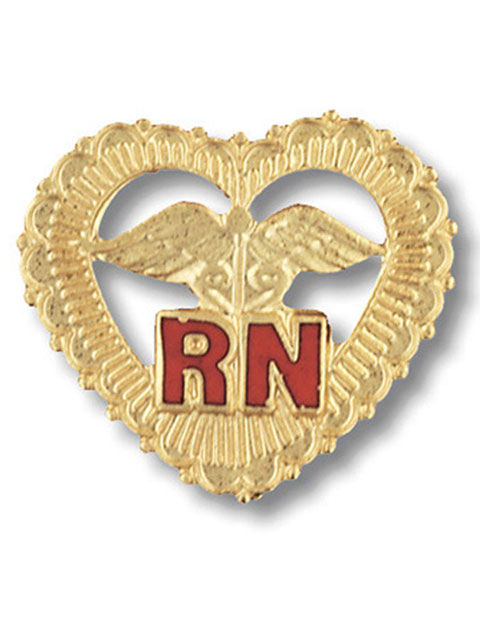 Prestige Handmade Gold Plated Registered Nurse Emblem Pin