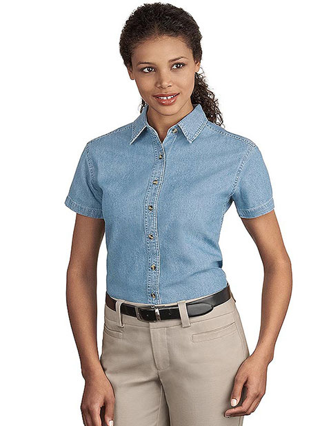Sanmar Port & Company Womens Short Sleeve Value Denim Shirt