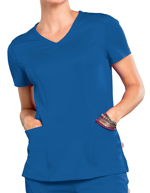 Smitten Women's Rock Star V-Neck Tunic Scrub Top