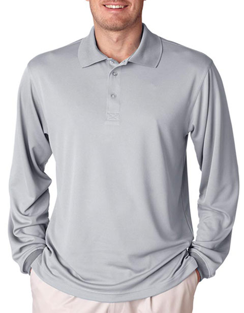 UltraClub Adult Cool & Dry Mesh Sport Long-Sleeve Polo