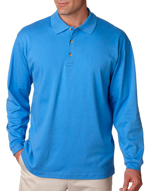 8501 UltraClub Men's Egyptian Interlock Long-Sleeve Polo