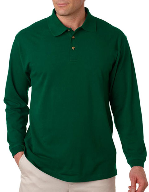 8532 UltraClub Adult Long-Sleeve Classic Piqué Polo