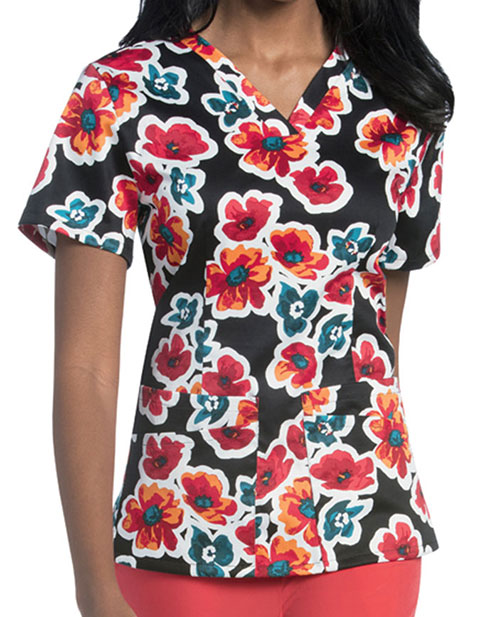 Urbane Women's Drifting Blossoms Print V-Neck Tunic
