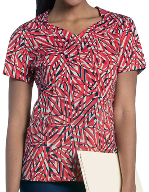 Urbane Women's SUNKISSED HAZE Print Diamond Neckline Top