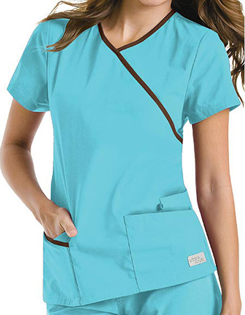 Urbane Women Contrast Wrap Around Tunic Medical Scrub Top