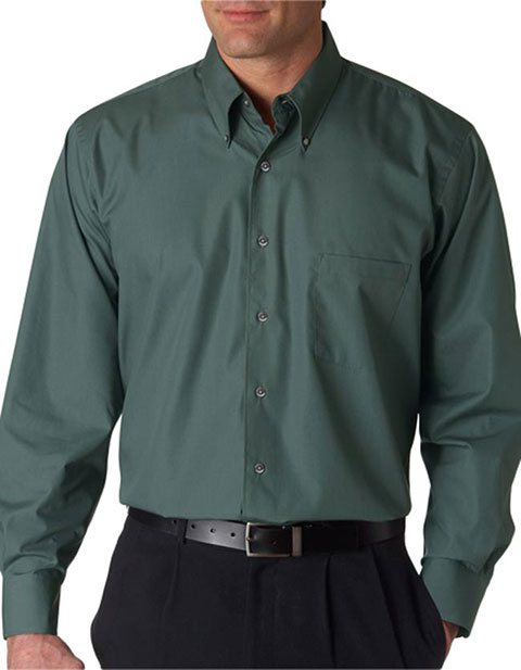 V0113 Van Heusen Men's Long-Sleeve Silky Poplin