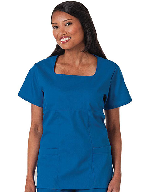 White Swan Fundamentals Womens Sweetheart Neck Scrub Top