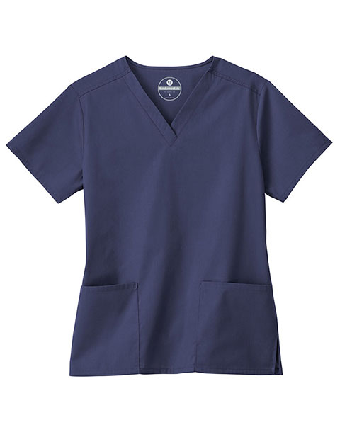 White Swan Fundamentals Women's Two Pockets Solid Scrub Top